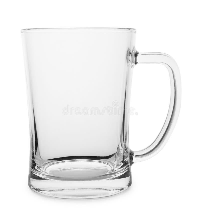 Opróżnia jasnego szkło dla piwa na bielu zdjęcia stock