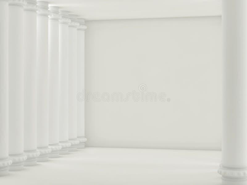 Opróżnia lekkiego pokój z białymi kolumnami i ściana z cegieł 3 d czynią ilustracji