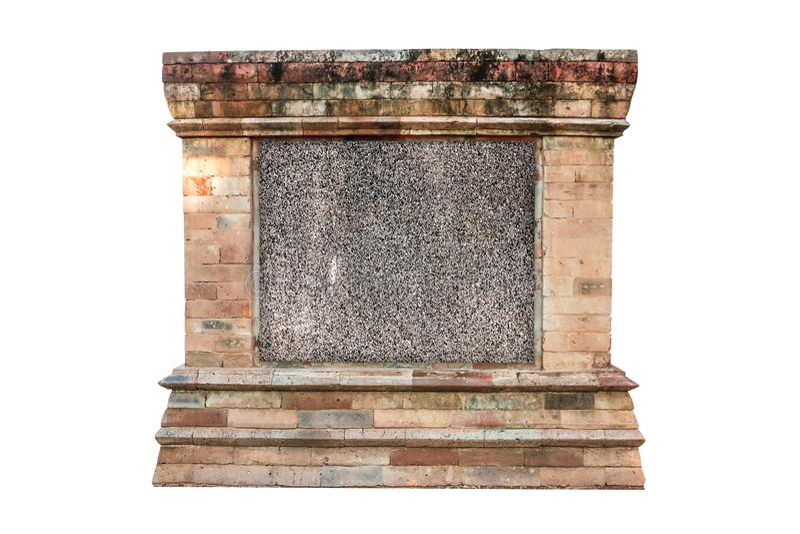 Opróżnia małą kamień teksturę z starą antyka kamienia rocznika ramą na białym tle, Signboard pusty zdjęcia stock