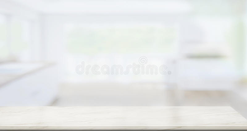 Opróżnia marmurowego stołowego wierzchołek w kuchennym tle obraz royalty free
