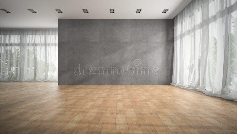 Opróżnia nowożytnego projekta pokój z parkietowej podłoga 3D renderingiem fotografia royalty free