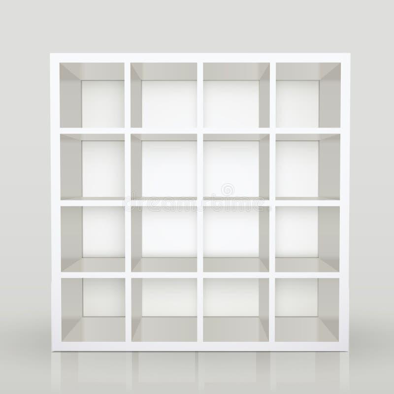 Opróżnia półki, pusta bookcase biblioteka ilustracja wektor