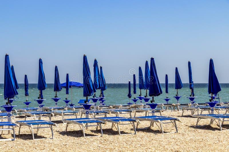 Opróżnia plażę przy Porto Recanati, Włochy obrazy royalty free