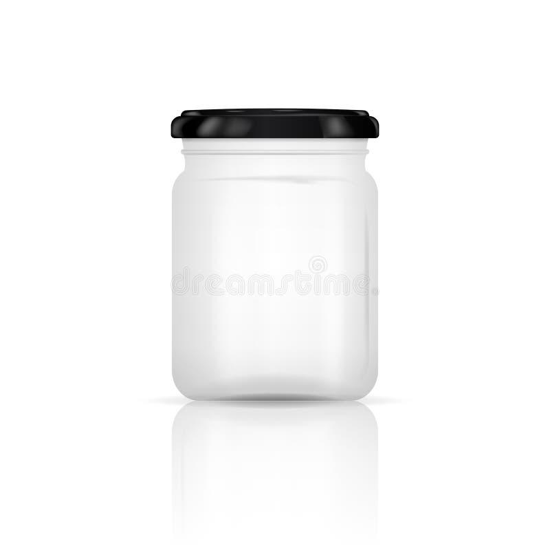 Opróżnia przejrzystego szklanego słój z śrubową nakrętką Round kształta Szklany kanister na białym tle również zwrócić corel ilus royalty ilustracja