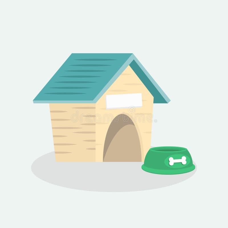 Opróżnia psiego drewnianego dom z błękita dachem ilustracja wektor