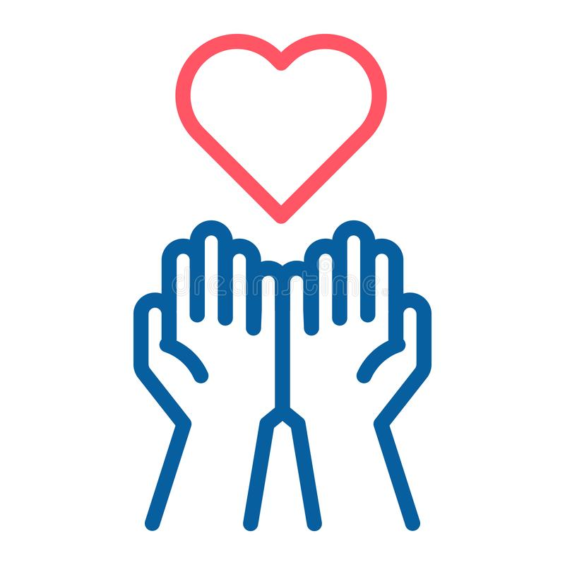 Opróżnia ręki otrzymywa czerwoną Kierową ikonę Akceptować miłości, pomoc, rodzaj royalty ilustracja