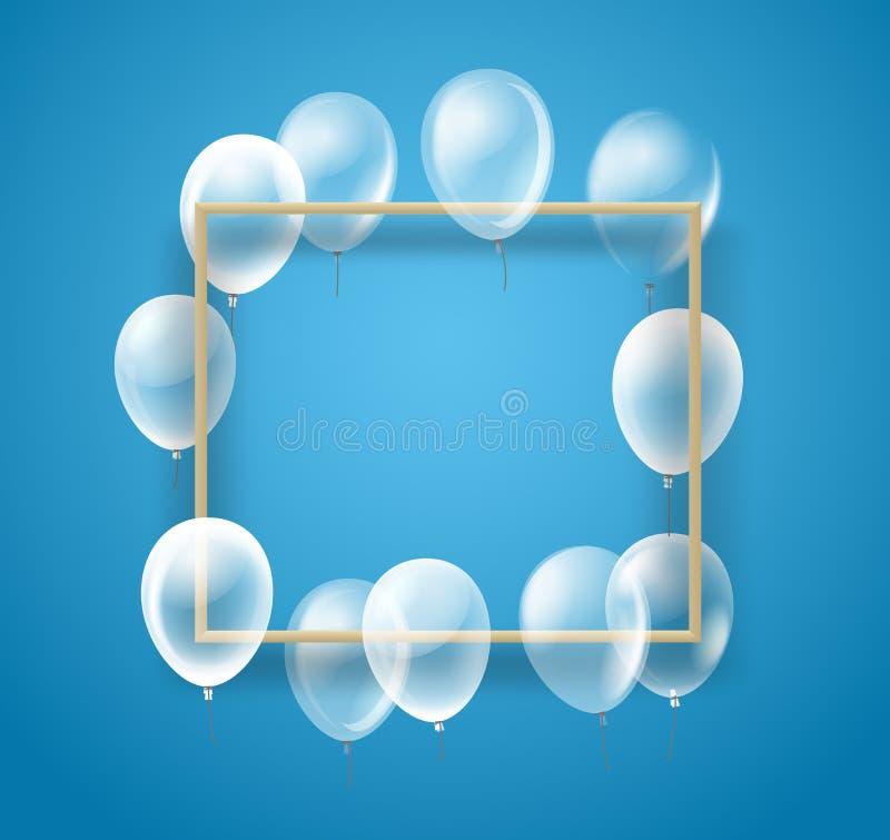 Opróżnia ramę z przejrzystymi balonami ilustracja wektor