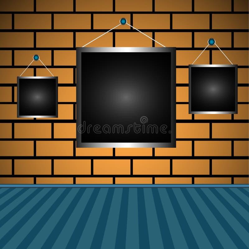 Opróżnia ramy na ściana z cegieł ilustracja wektor
