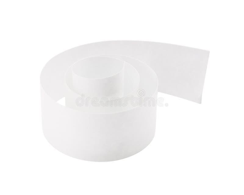 Opróżnia rolka papier na odosobnionym tle z ścinek ścieżką Biały kleisty śmieci lub taśma ilustracji