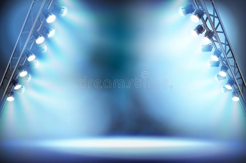 Opróżnia scenę iluminującą światłami reflektorów również zwrócić corel ilustracji wektora royalty ilustracja