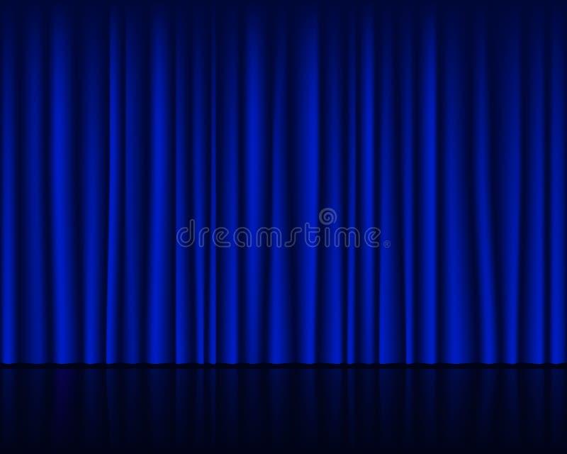 Opróżnia scenę z zmrokiem - błękitnej zasłony bezszwowy szablon royalty ilustracja