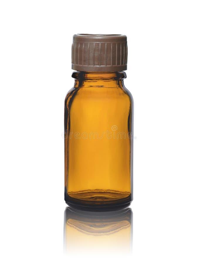 Opróżnia szklaną butelkę dla medycyn lub leków z stopper odizolowywającym na białym tle obraz stock