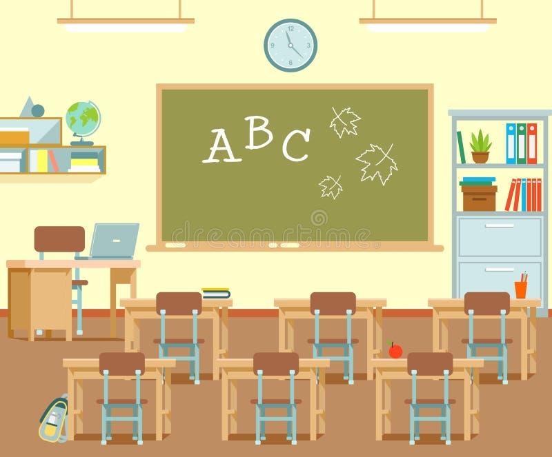 Opróżnia szkolną salę lekcyjną z chalkboard i biurkami ilustracji