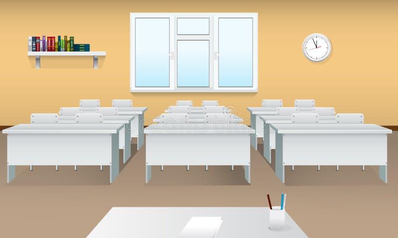 Opróżnia szkolną sala lekcyjną Realistyczny sala lekcyjnej wnętrze z wielkim okno i frontowym widokiem krzesło pokoju konferencji ilustracji
