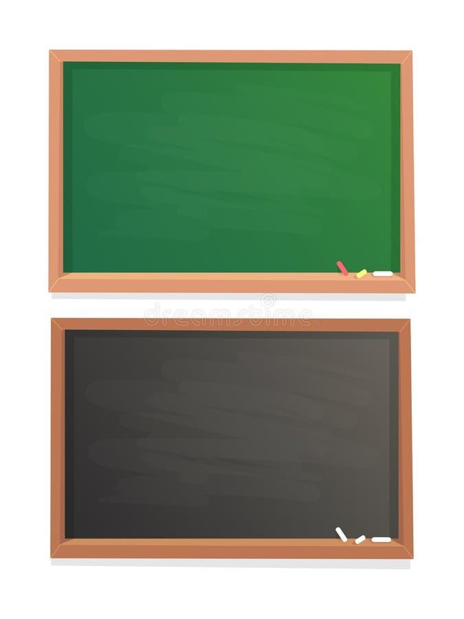 Opróżnia Szkolnego Chalkboard Czerni kredowego blackboard w drewnianej ramy odizolowywającym wektorowym tle i zielenieje ilustracji