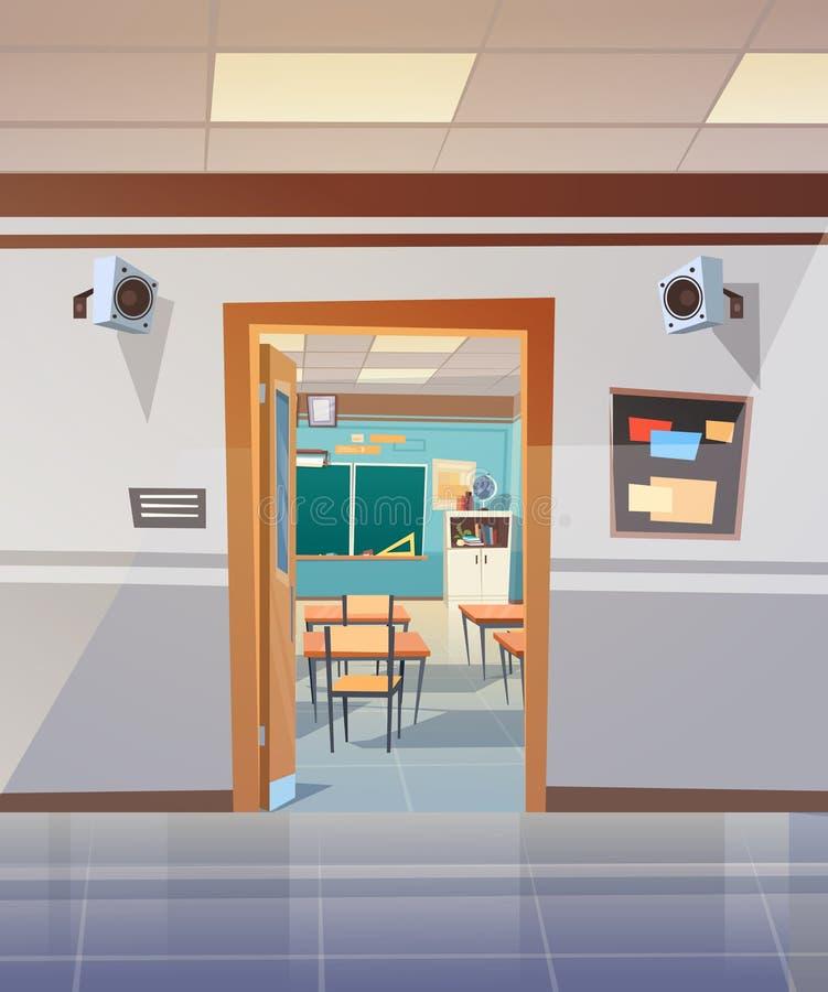 Opróżnia Szkolnego korytarz Z otwarte drzwi Klasowy pokój royalty ilustracja