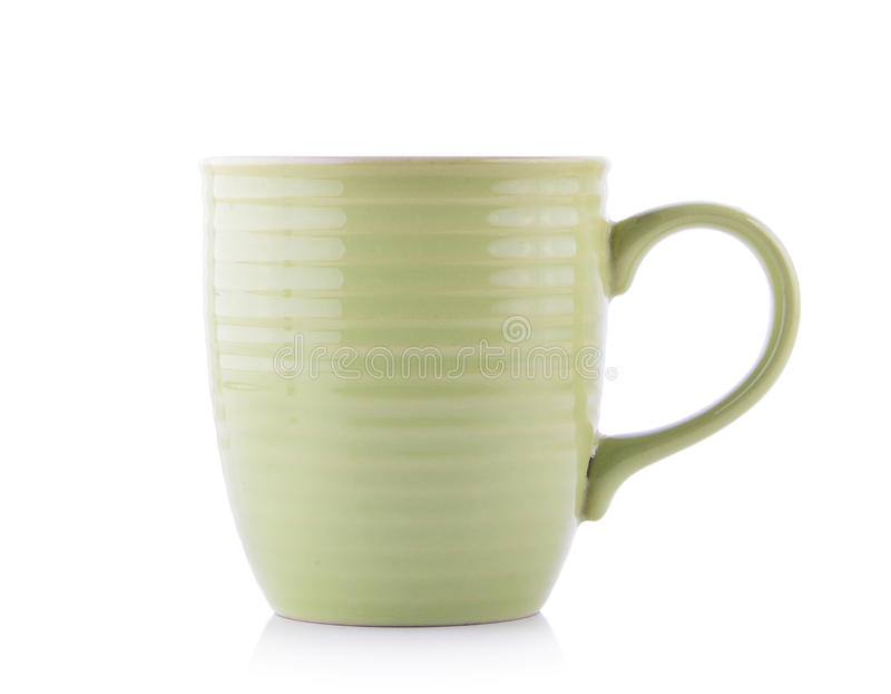 Opróżnia zieloną filiżankę odizolowywającą na białym tle zdjęcia royalty free