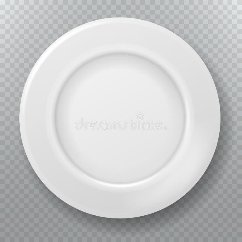 opróżnij półkowego white Karmowy czysty ceramiczny porcelana talerz, odgórny widok naczynie lub puchar kuchenna kulinarna wektoro royalty ilustracja