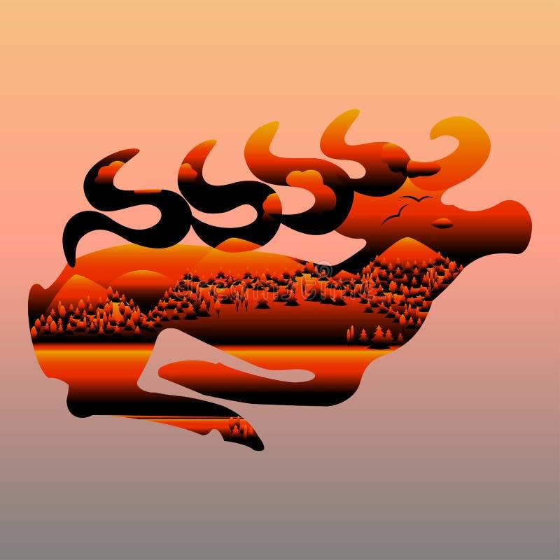 Oprócz lasu od ogienia ilustracja wektor