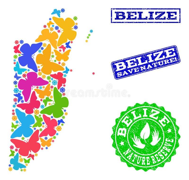 Oprócz natura składu mapa Belize z motylami i Textured znaczkami ilustracja wektor