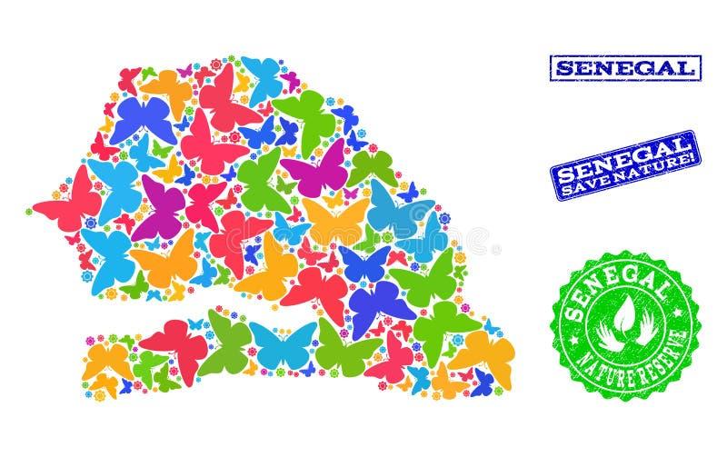 Oprócz natura składu mapa Senegal z motylami i cierpień Watermarks ilustracji