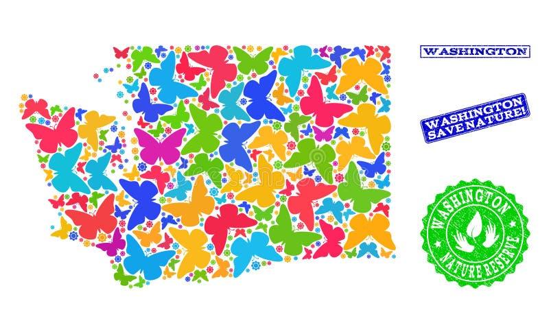 Oprócz natura składu mapa stan washington z motylami i Textured znaczkami royalty ilustracja