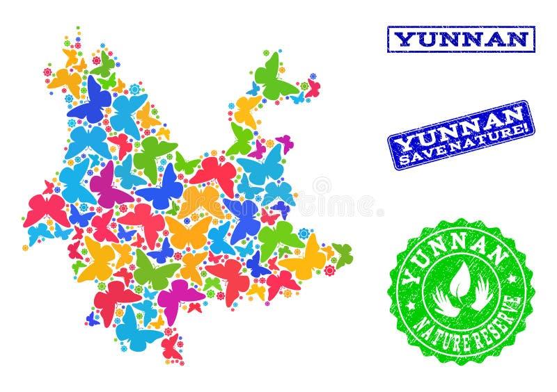 Oprócz natura składu mapa Yunnan prowincja z motylami i Drapającymi znaczkami royalty ilustracja