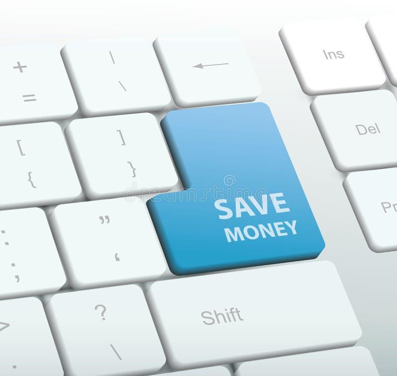 Przycisk oszczędzania pieniędzy na klawiaturze komputera Ilustracja wektorowa royalty ilustracja