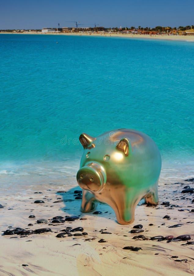 Oprócz pieniądze prosiątka banka na plaży ilustracja wektor