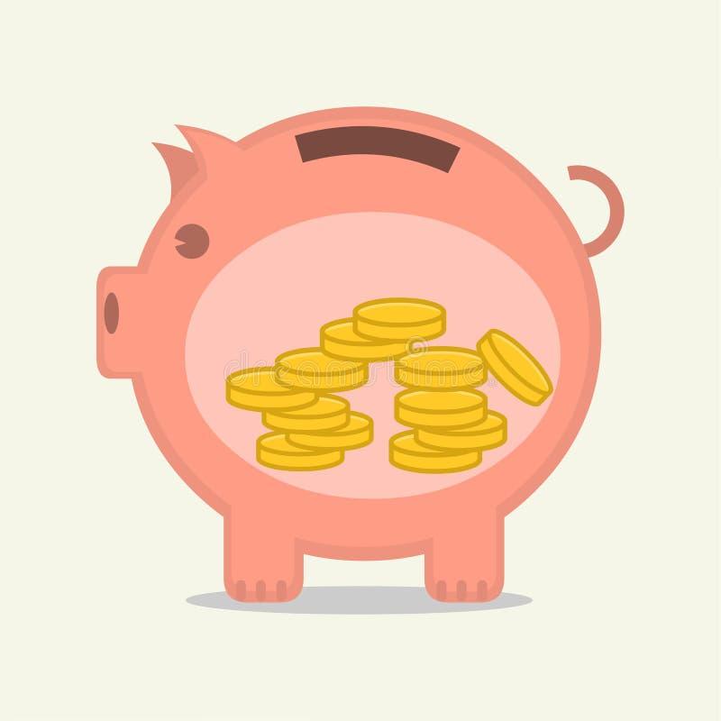 Oprócz pieniądze wśrodku prosiątko banka wektoru ilustracji obrazy stock