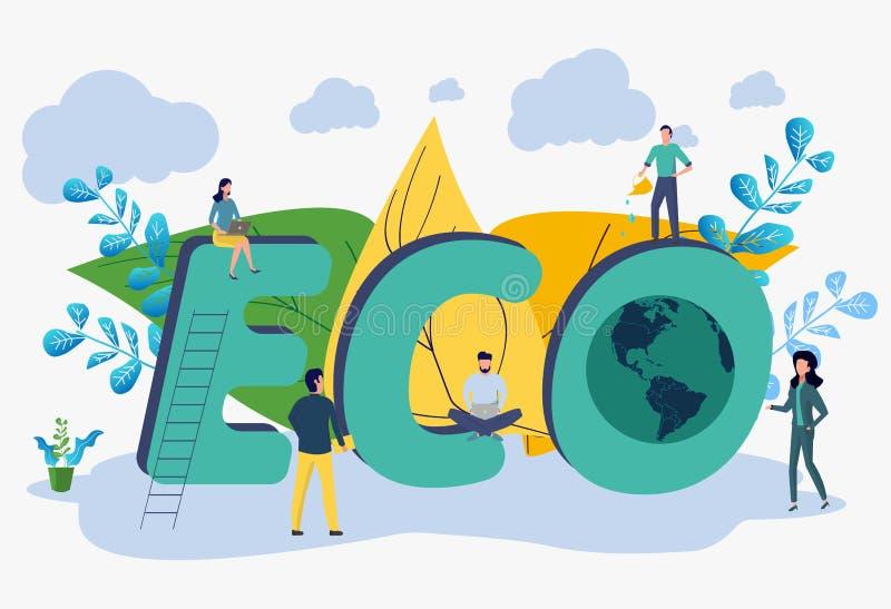 Oprócz planety od zanieczyszczenia, oprócz planety, mały roślina proces, zielona energia, Ziemskiego dnia pojęcie ilustracja wektor