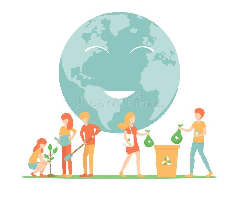 Oprócz planety, rodzaju śmieci, rośliien drzewa ilustracja wektor