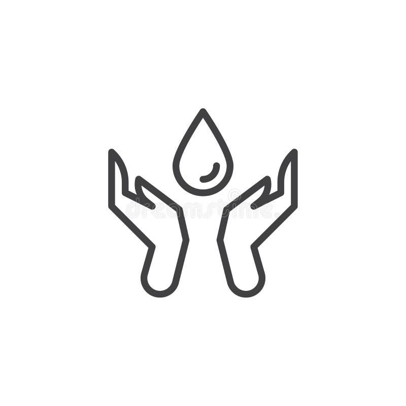 Oprócz wodnej linii ikony ilustracja wektor