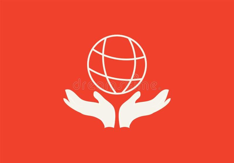 Oprócz ziemi lub Pomaga planety wektorowej płaskiej ikonie: oszczędzanie pomocne dłonie i planety Ziemska sylwetka Trwałoś fotografia royalty free