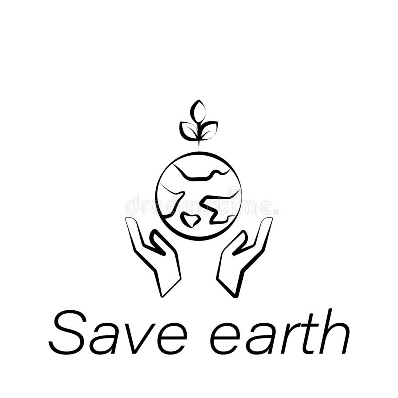 Oprócz ziemskiej ręka remisu ikony Element uprawiać ziemię ilustracyjne ikony Znaki i symbole mogą używać dla sieci, logo, mobiln royalty ilustracja