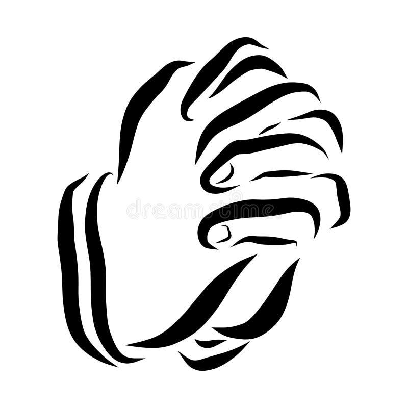 Oprecht gebed, gesprek met God, menselijke handen royalty-vrije illustratie