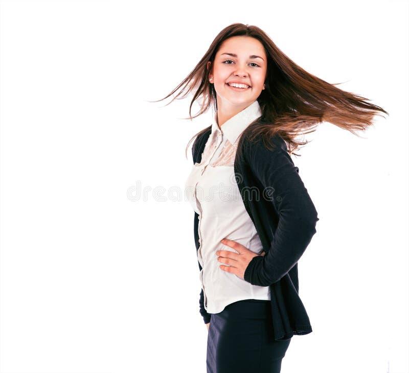 Oprechte glimlach en mooi gezicht - tienermeisje op het wit royalty-vrije stock foto