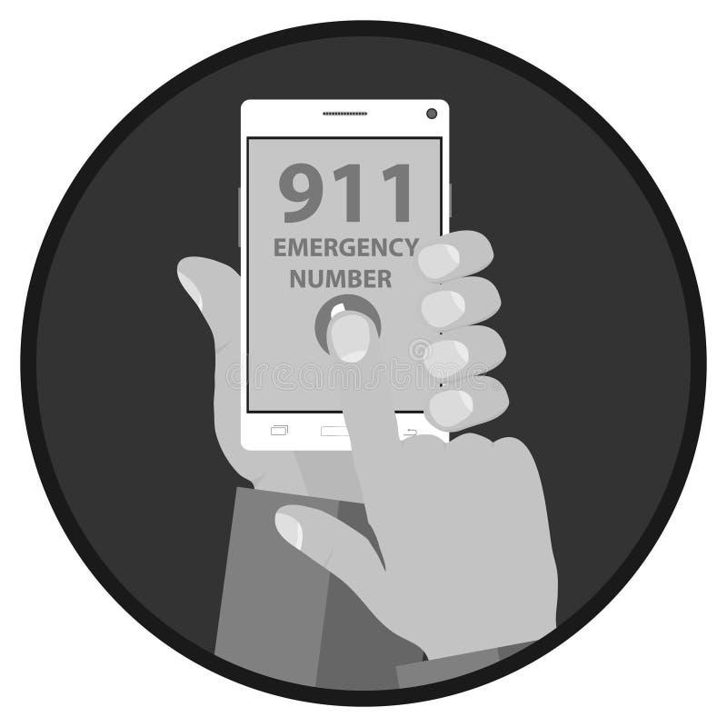 Oproepen de hulpdienst, handengreep de telefoon stock illustratie