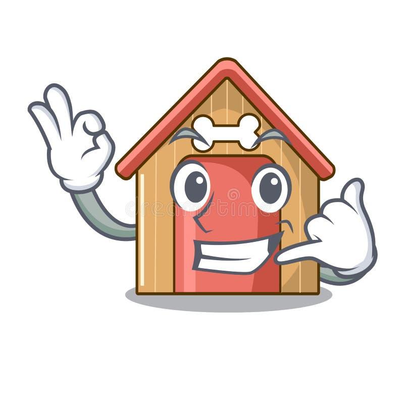 Oproepen me het huis van de mascottehond van houten huis royalty-vrije illustratie