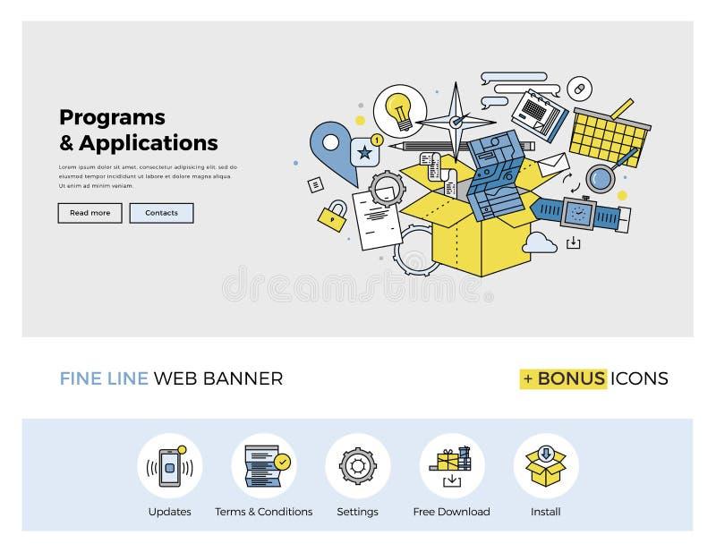 Oprogramowania i apps mieszkania linii sztandar ilustracja wektor