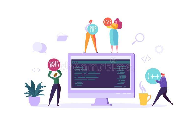 Oprogramowania i strony internetowej programowania pojęcie Programistów charaktery Pracuje na komputerze z kodem na ekranie freel royalty ilustracja
