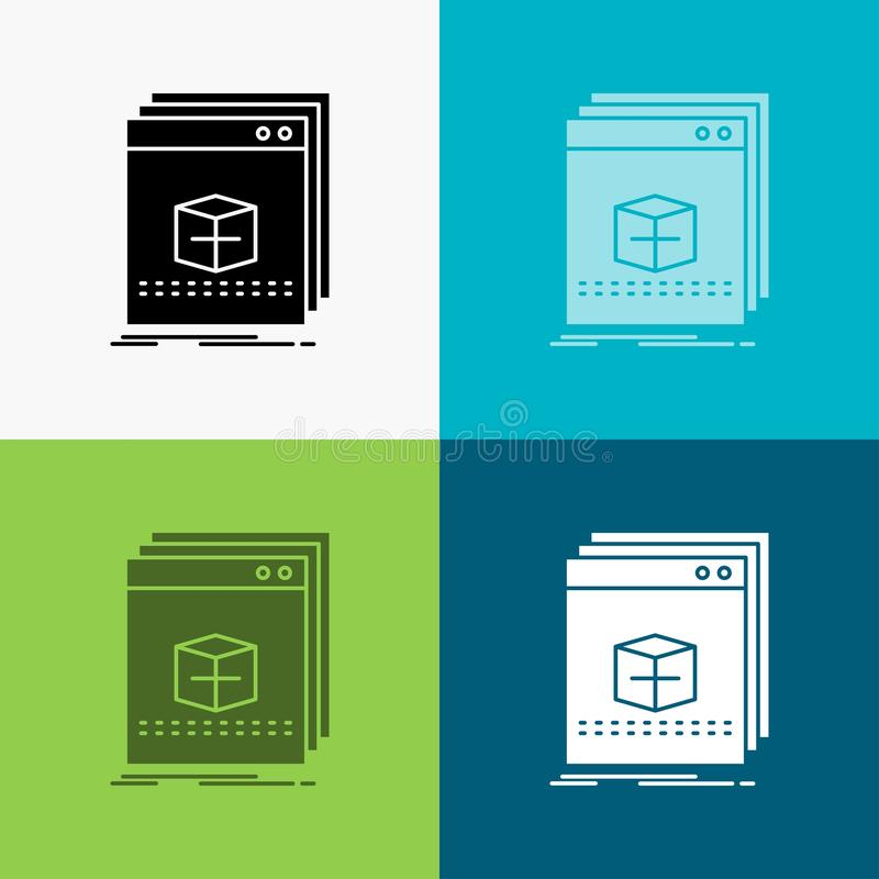 oprogramowanie, App, zastosowanie, kartoteka, program ikona Nad R??norodnym t?em glifu stylu projekt, projektuj?cy dla sieci i ap ilustracja wektor
