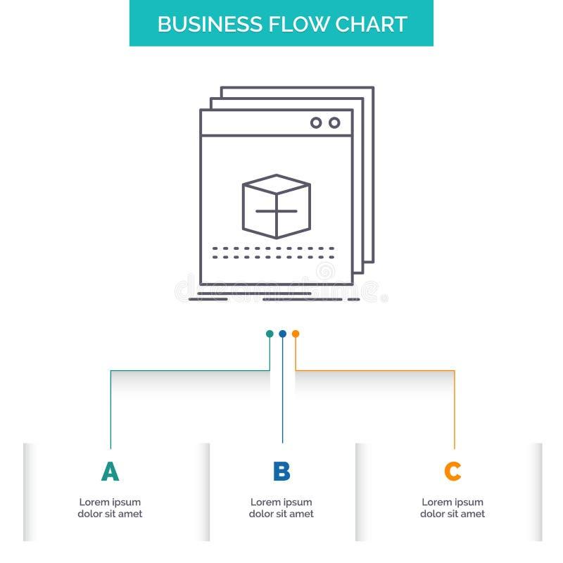 oprogramowanie, App, zastosowanie, kartoteka, program Spływowej mapy Biznesowy projekt z 3 krokami Kreskowa ikona Dla prezentacji ilustracji