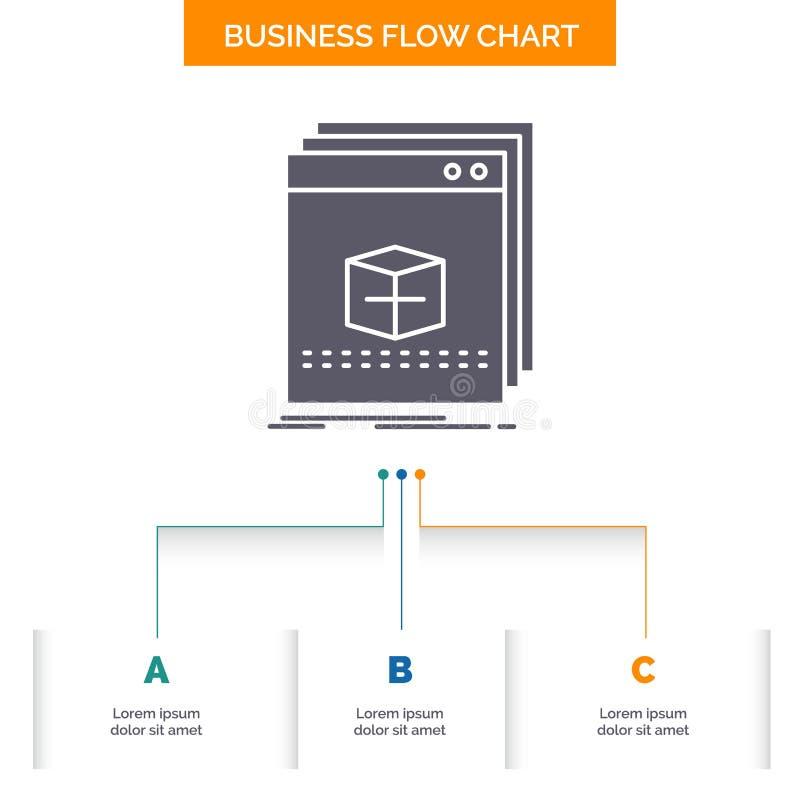 oprogramowanie, App, zastosowanie, kartoteka, program Sp?ywowej mapy Biznesowy projekt z 3 krokami Glif ikona Dla prezentacji t?a ilustracji