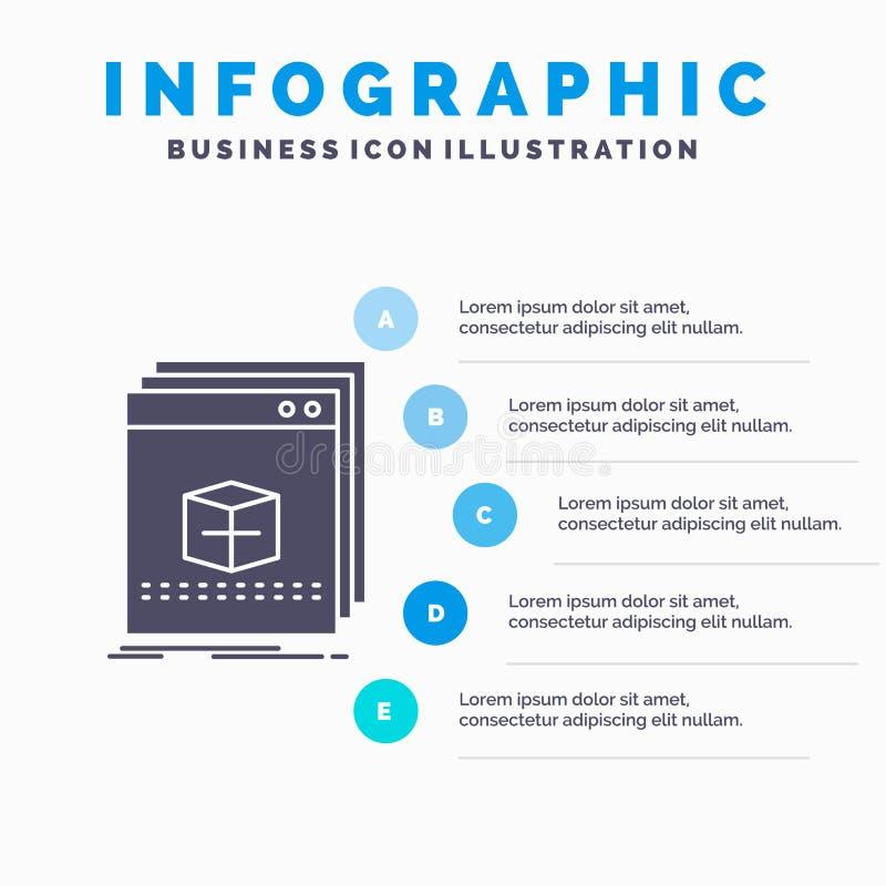 oprogramowanie, App, zastosowanie, kartoteka, programa Infographics szablon dla strony internetowej i prezentacja, glif Szara iko royalty ilustracja