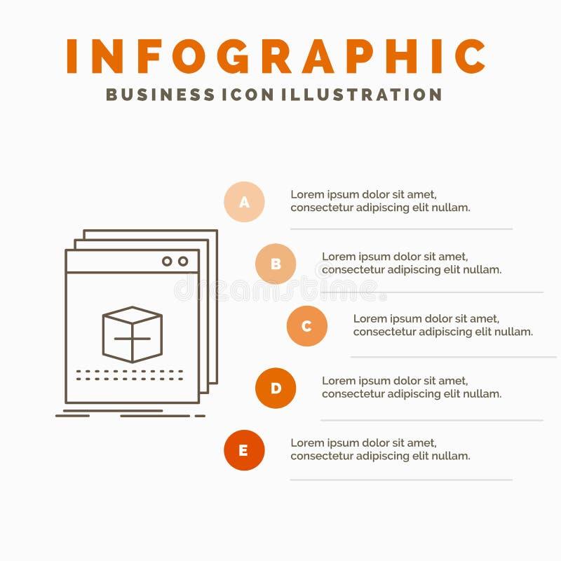oprogramowanie, App, zastosowanie, kartoteka, programa Infographics szablon dla strony internetowej i prezentacja, Kreskowa Szara ilustracja wektor