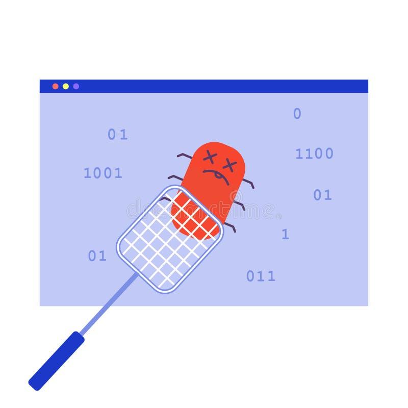 Oprogramowanie pluskwa, komputerowy pluskw załatwiać royalty ilustracja