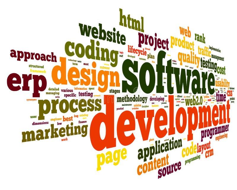 Oprogramowanie rozwoju pojęcie w etykietki chmurze royalty ilustracja
