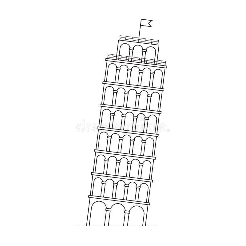 oprzeć wieżę w pizie royalty ilustracja