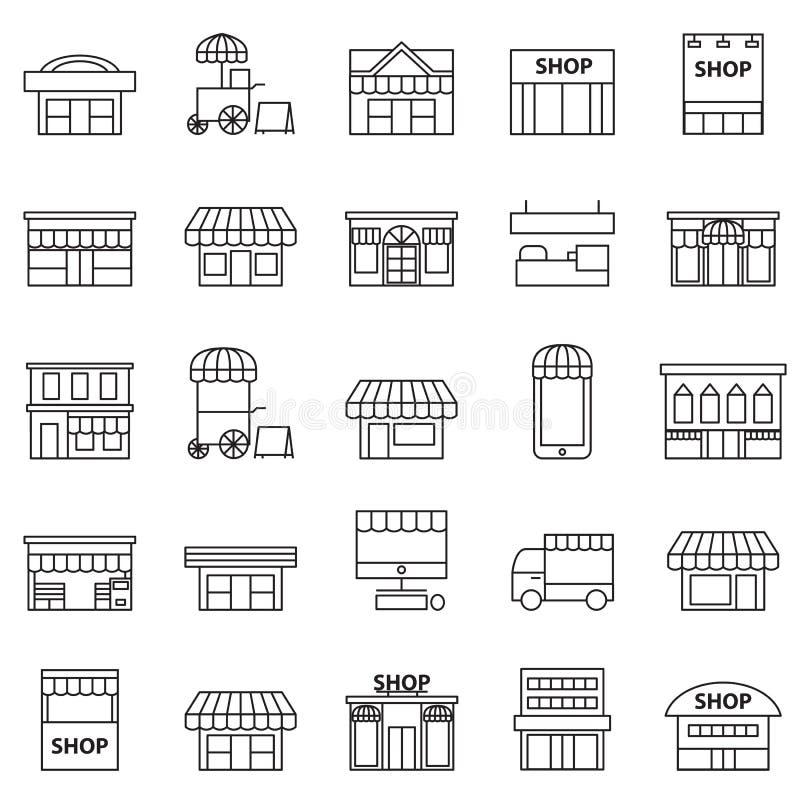 Opslag en de reeks van het de bouwpictogram stock illustratie